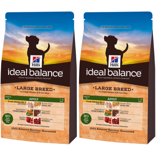 Hills Ideal Balance Canine Adult Large Breed Chicken & Rice 12kg x 2