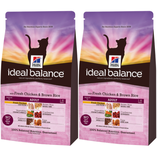 Hills Ideal Balance Feline Adult Chicken & Brown Rice 4kg x 2