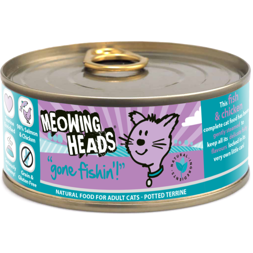 Meowing Heads Gone Fishin Wet Cat Food 100g x 12 Tins