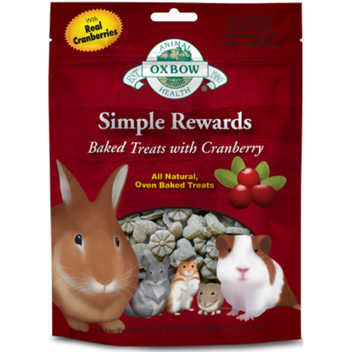 Oxbow Simple Rewards Baked Small Pet Treats 60g Cranberry