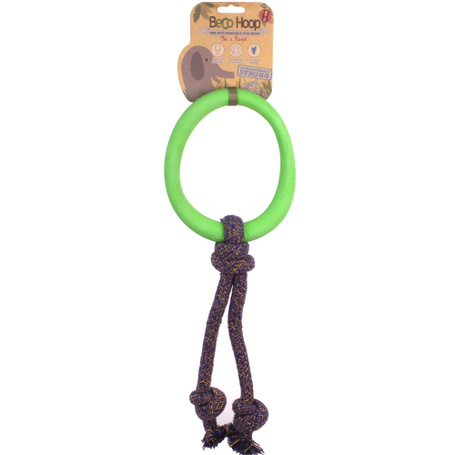 Beco Hoop on a Rope Dog Toy Green