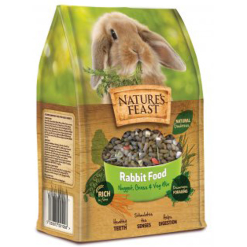 Natures Feast Nugget, Grass & Veg Mix Rabbit Food 1.5kg