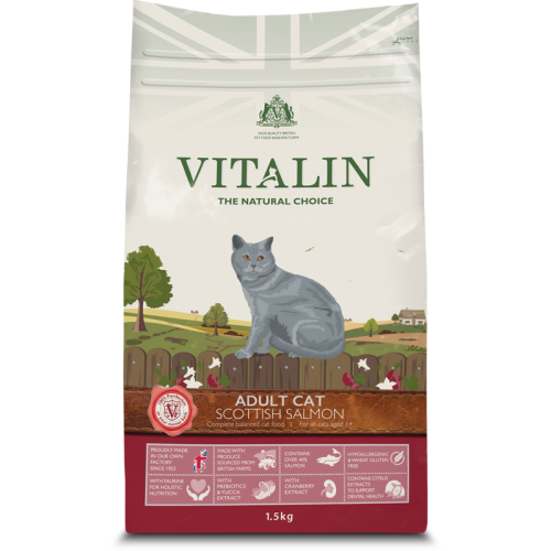 Vitalin Natural Salmon Dry Adult Cat Food 1.5kg