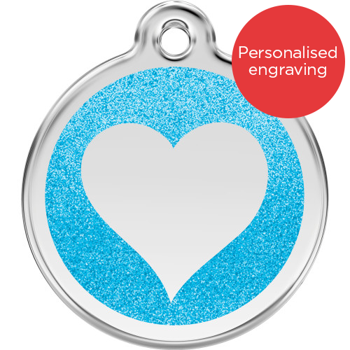 Red Dingo Dog ID Tag Glitter Enamel Heart Light Blue