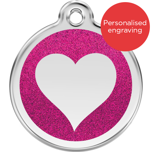 Red Dingo Dog ID Tag Glitter Enamel Heart Hot Pink