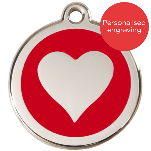 Red Dingo Cat ID Tag Stainless Steel & Enamel Heart Red