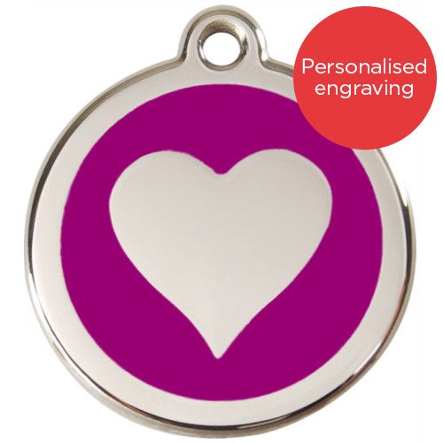 Red Dingo Cat ID Tag Stainless Steel & Enamel Heart Purple