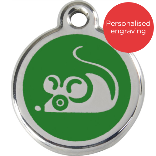 Red Dingo Cat ID Tag Stainless Steel & Enamel Mouse Green