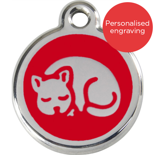 Red Dingo Cat ID Tag Stainless Steel & Enamel Kitten Red