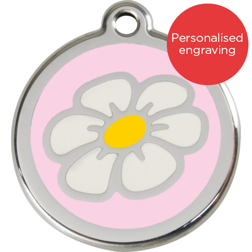 Red Dingo Cat ID Tag Stainless Steel & Enamel Daisy Pink