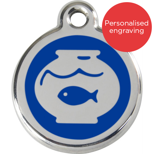 Red Dingo Cat ID Tag Stainless Steel & Enamel Fish Bowl Dark Blue