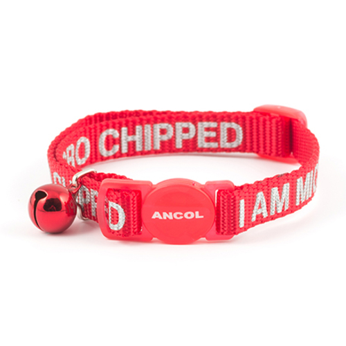 Ancol Microchipped Nylon Cat Collar Red