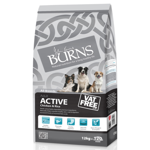 Burns Active Chicken & Rice Adult Dog Food 12kg x 2