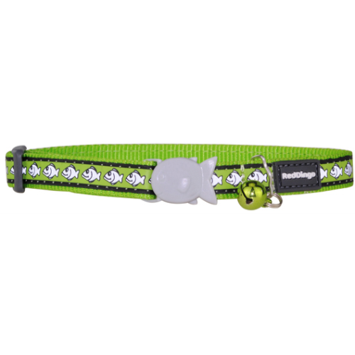 Red Dingo Cat Collar Reflective Fish Lime Green