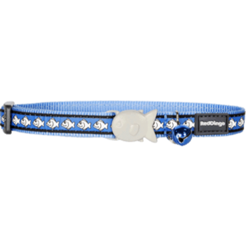 Red Dingo Cat Collar Reflective Fish Blue