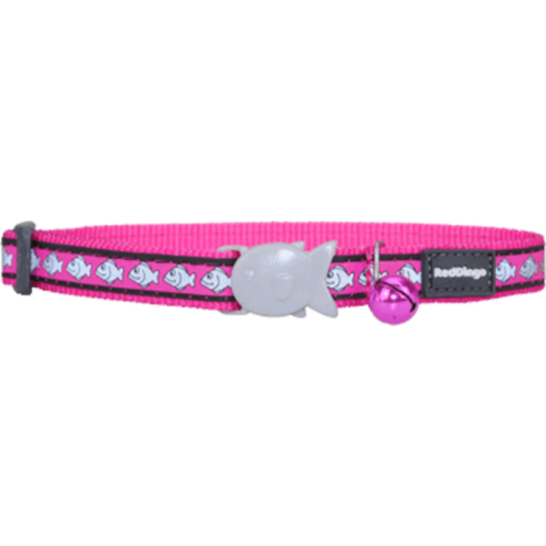 Red Dingo Cat Collar Reflective Fish Pink
