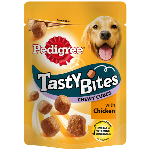Pedigree Tasty Bites Chewy Cubes Adult Dog Treats 130g Chicken