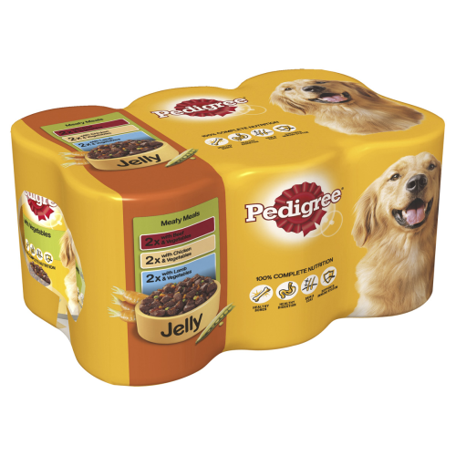 Pedigree Can Meaty Meals in Jelly Adult Dog Food 400g x 6