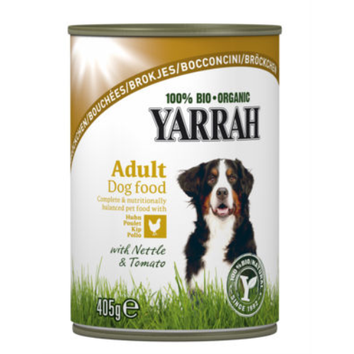 Yarrah Organic Chicken With Nettle And Tomato Dog Food 405g x 12