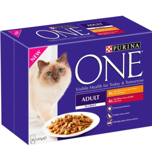 Purina ONE Chicken & Beef Mini Fillets In Gravy Adult Cat Food 85g x 40