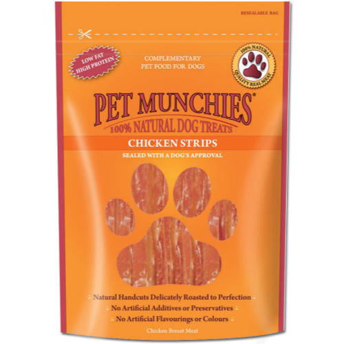 Pet Munchies Natural Dog Treats 90g x 8 - Chicken Strips SAVER PACK