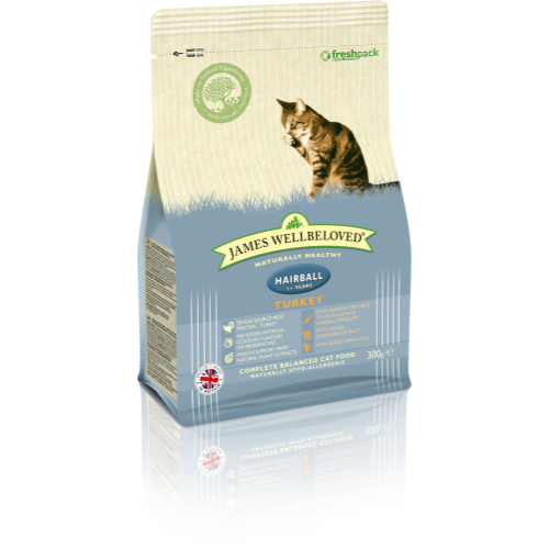 James Wellbeloved Hairball Turkey Adult Cat Food 300g