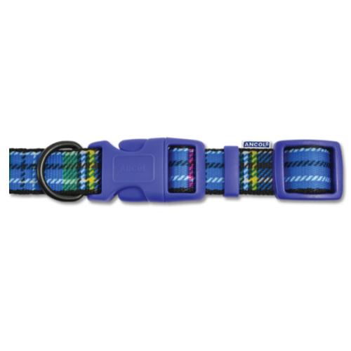 Ancol Tartan Nylon Dog Collar Size 1-2 Blue