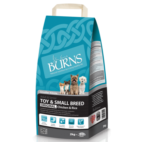 Burns Original Chicken & Rice Toy & Small Breed Adult Dog Food 2kg