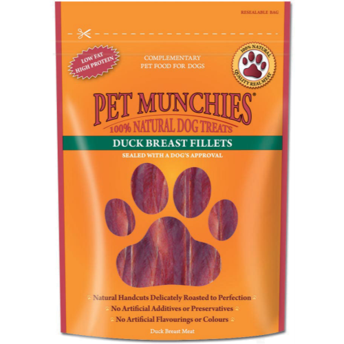 Pet Munchies Natural Dog Treats 80g - Duck Breast Fillets