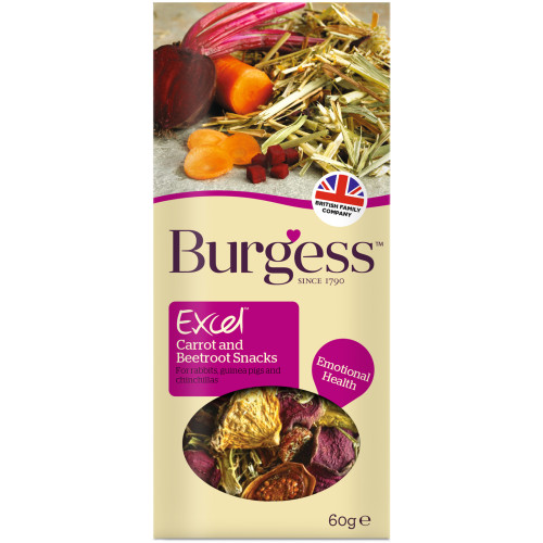 Burgess Excel Carrot & Beetroot Rabbit, Chinchilla & Guinea Pig Snack 60g