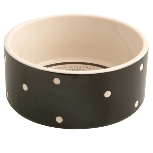 Mason Cash Black Polka Dot Ceramic Dog & Cat Bowl 18 x 8cm