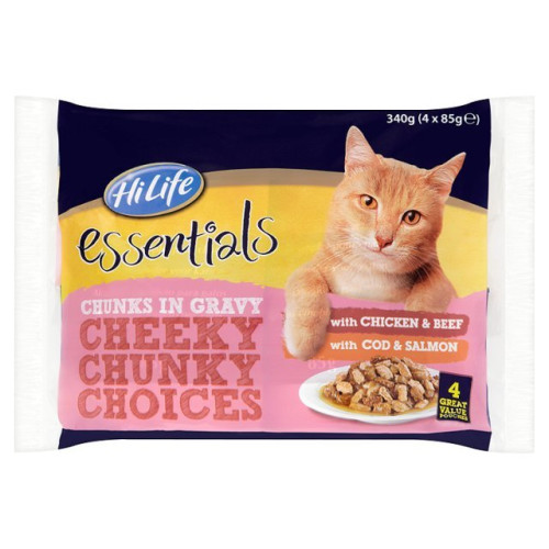 HiLife essentials Cheeky Chunky Choices in Gravy Adult Cat Food 85g x 4