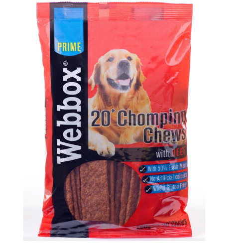 Webbox Prime Chomping Chews Dog Treats Beef 200g