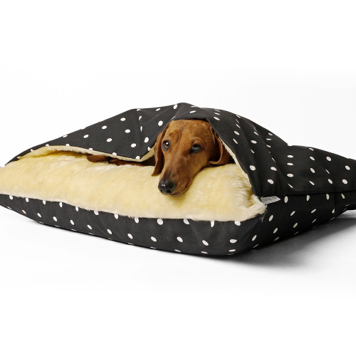 Charley Chau Luxury Snuggle Dog Bed Dotty Charcoal - Large
