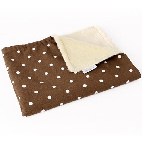 Charley Chau Faux Fur Fleece Dotty Chocolate Dog Blanket Large