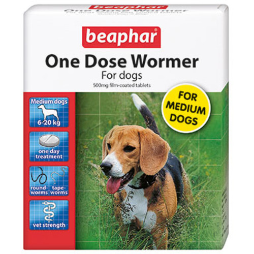 Beaphar One Dose Wormer for Dogs Medium Dogs up to 20kg 2 Tablets