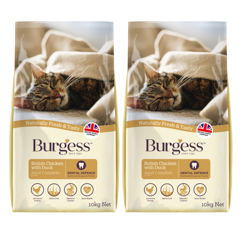 Burgess Complete Chicken & Duck Adult Cat Food 10kg x 2
