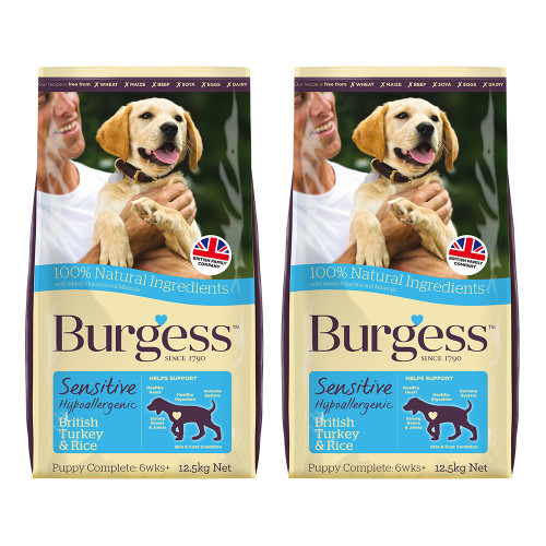Burgess Complete Sensitive Turkey & Rice Puppy Dog Food 12.5kg x 2