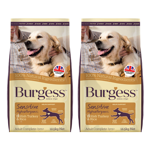 Burgess Complete Sensitive Turkey & Rice Adult Dog Food 12.5kg x 2
