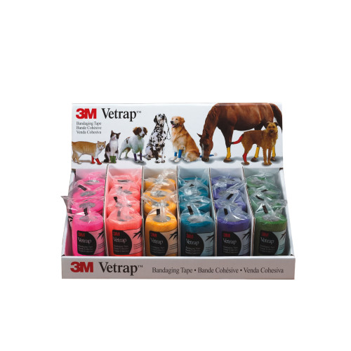 3M Vetrap Bandage Display 24 Pack Bright 10cm
