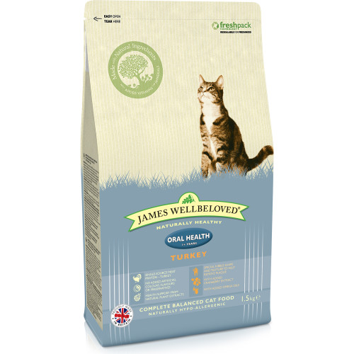 James Wellbeloved Oral Health Turkey Adult Cat Food 1.5kg
