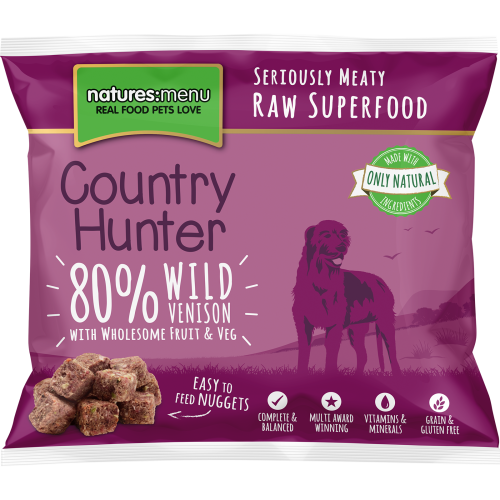 Natures Menu Country Hunter Complete Wild Venison Nuggets Raw Frozen Dog Food 1kg