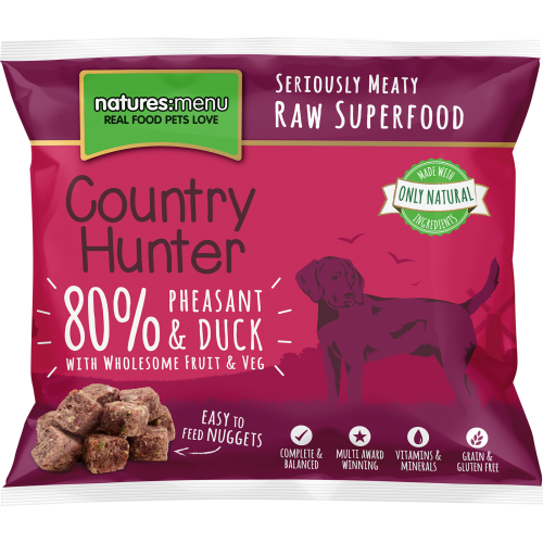 Natures Menu Country Hunter Complete Pheasant & Duck Nuggets Raw Frozen Dog Food 1kg