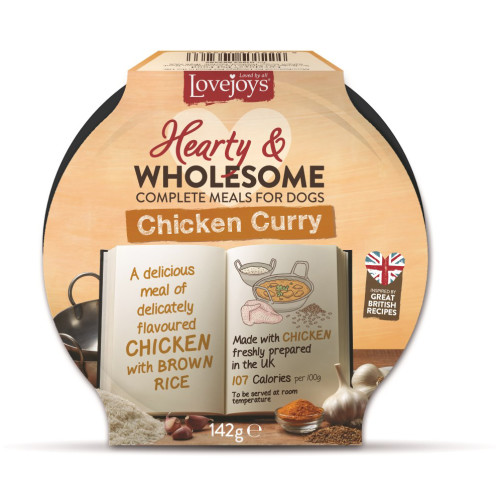 Lovejoys Hearty & Wholesome Chicken Curry Dog Food 142g x 7