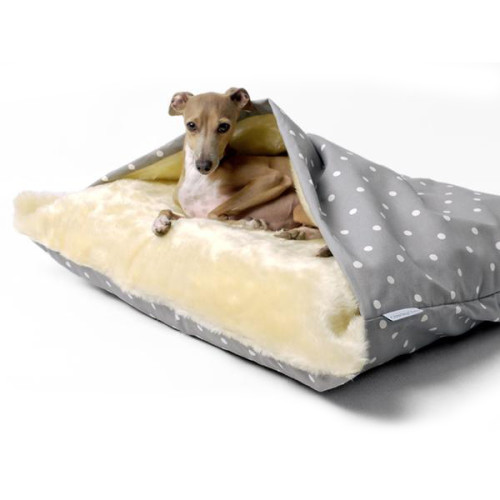 Charley Chau Luxury Snuggle Dog Bed Dotty Dove Grey Large