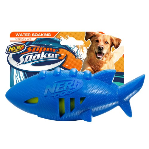 NERF Shark Squeaker Super Soaker Dog Toy Blue