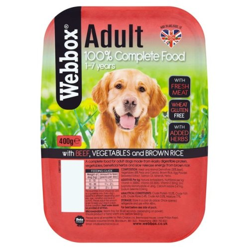 Webbox Natural Trays Beef, Brown Rice and Veg Adult Dog Food 400g x 7