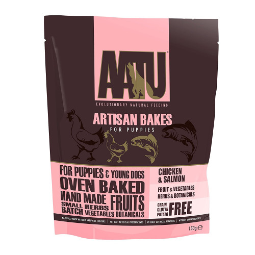 AATU Artisan Bakes Dog Treats Chicken & Salmon (Puppy) - 150g