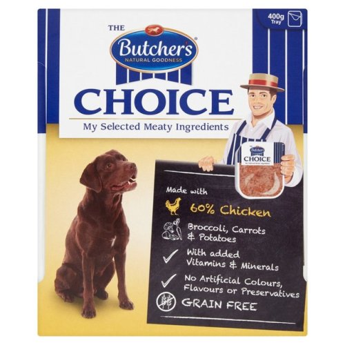 Butchers Choice Chicken and Vegetables Adult Dog Food Tray 400g x 32