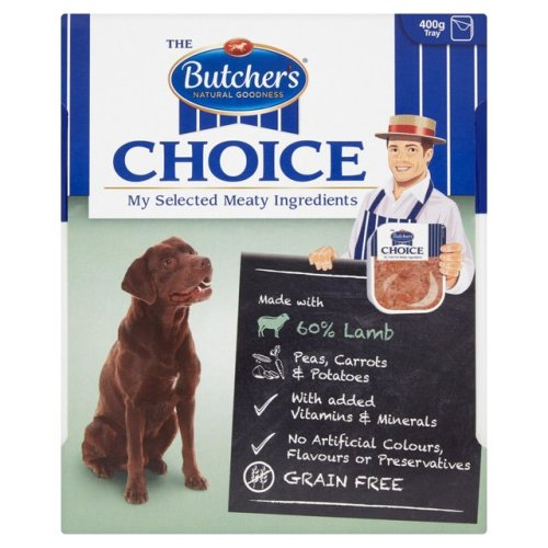 Butchers Choice Lamb and Vegetables Adult Dog Food Tray 400g x 32